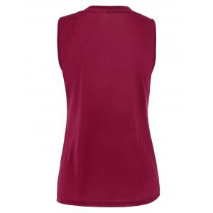 Casual Two Tone Surplice Sleeveless Top - WINE RED XL