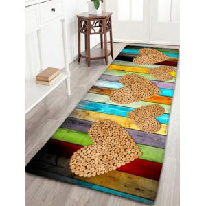 Wood Grain Printed Flannel Skidproof Heart Rug