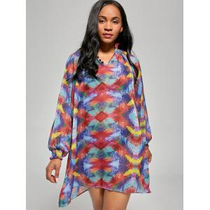 Sheer Chiffon Shift Cover Up Dress - COLORMIX L