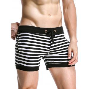 Stripe Drawstring Graphic Embroidered Home Shorts - BLACK XL