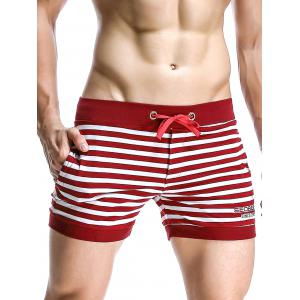 Stripe Drawstring Graphic Embroidered Home Shorts - Red - L