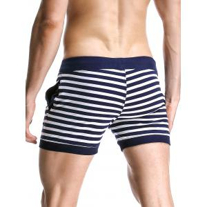 Stripe Drawstring Graphic Embroidered Home Shorts - DEEP BLUE XL