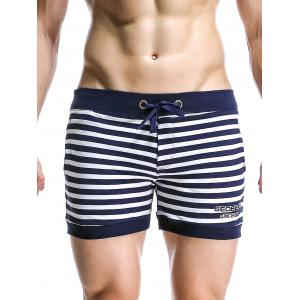 Stripe Drawstring Graphic Embroidered Home Shorts