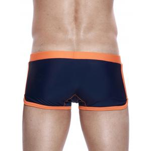 Panel Design Drawstring Convex Pouch Swimming Trunks -