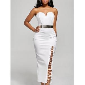 Slit Lace-up Bodycon Strapless Dress
