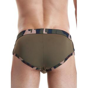 Camouflage Panel Star Embroidered Swimming Briefs - ARMY GREEN XL