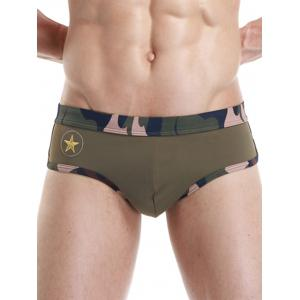 Camouflage Panel Star Embroidered Swimming Briefs