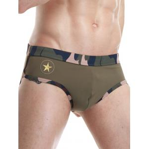 Camouflage Panel Star Embroidered Swimming Briefs -
