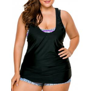 Cross Back Strappy Plus Size Tankini Set - Blue - 2xl
