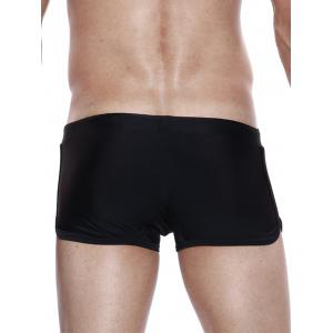 Panel Design Drawstring Convex Pouch Swimming Trunks - BLACK S
