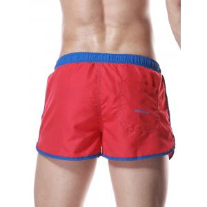 Color Block Panel Drawstring Graphic Sport Shorts -