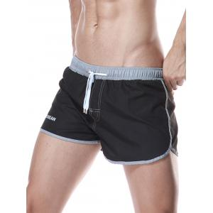 Color Block Panel Drawstring Graphic Sport Shorts - BLACK XL