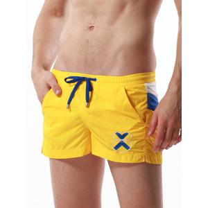 Drawstring Color Block Panel Badge Embroidered Shorts - YELLOW L