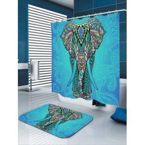 elephant flower waterproof fabric shower curtain