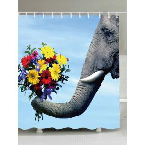 Waterproof Elephant Flower Fabric Shower Curtain - Colorful - W71 Inch * L79 Inch