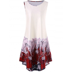 Sleeveless Asymmetrical Floral Print Dress
