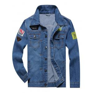 Button Fly Embroidery Patched Denim Jacket - Blue - 4xl