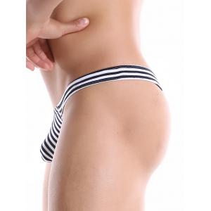 U Contour Pouch Striped Thongs -