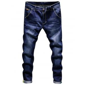 Zip Fly Ripped Skinny Jeans - Deep Blue - 32