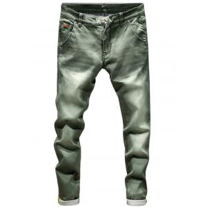 Zip Fly Ripped Skinny Jeans - Blackish Green - 32