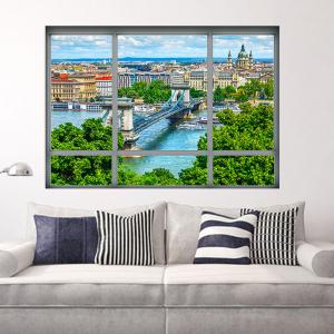 Removable 3D Window City View Wall Art Sticker