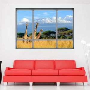 Savanna Giraffe 3D Window Removable Wall Sticker
