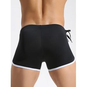 Edging Side Drawstring Swimming Trunks - BLACK XL