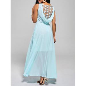 High Waist Lace Cowl Back Chiffon Dress