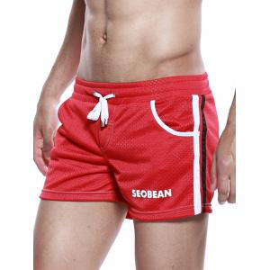 Graphic Print Drawstring Openwork Sport Shorts -