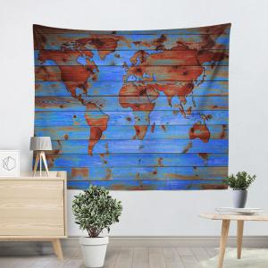 World Map Tapestry Wall Hanging lake blue w59 inch * l79 inch wall hanging world map printed