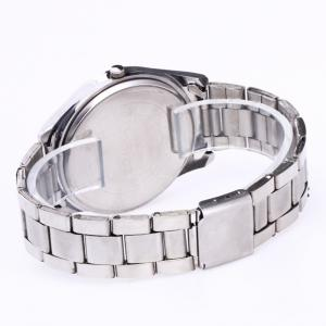 Alloy Strap Date Number Quartz Watch - SILVER AND BLUE