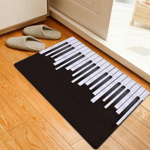 Piano Pattern Anti-skid Water Absorption Area Rug - Black White - W20 Inch * L31.5 Inch