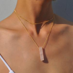 Geometric Natural Stone Collarbone Layered Necklace