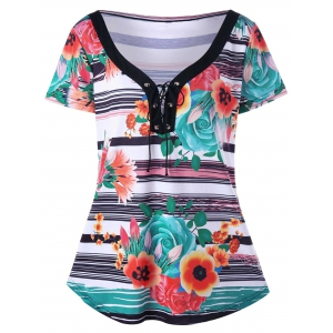 Plus Size Lace Up Floral Stripe T-Shirt