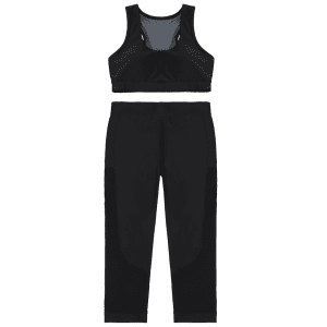 Patched Crop Top and Leggings Sport Suit -