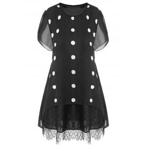 Plus Size Polka Dot Lace Trim Tunic Top - Black - 2xl