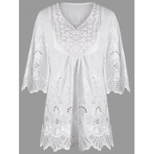 Plus Size V Neck Embroidered Blouse
