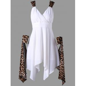 Cuffed Leopard Cape Chiffon Handkerchief Dress