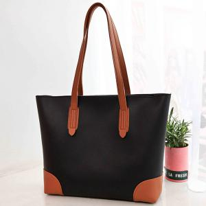 Faux Leather Shopper Bag with Clutch Bag -