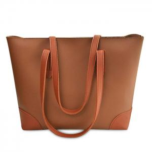 Faux Leather Shopper Bag with Clutch Bag - Brown
