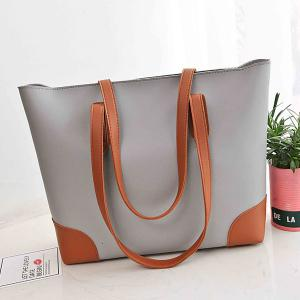 Faux Leather Shopper Bag with Clutch Bag - GRAY