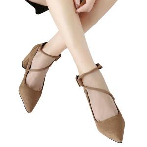 Point Toe Suede Block Heel Pumps - Apricot - 38