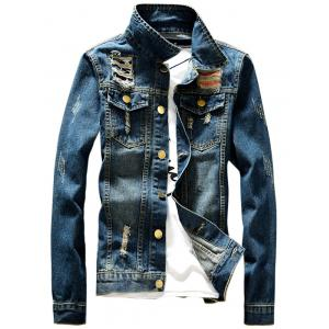 Button Fly Destroyed Denim Jacket - Denim Blue - 4xl