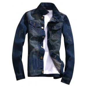 Button Fly Distressed Denim Jacket