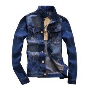 Button Fly Distressed Denim Jacket - Blue - L