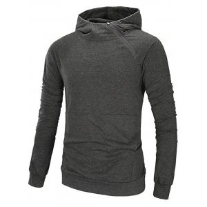 Oblique Zip Up Design Raglan Sleeve Hoodie - Deep Gray - M