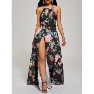 Maxi Floral Backless High Slit Beach Dress - Black - Xl