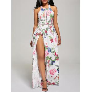 Maxi Floral Backless High Slit Beach Dress