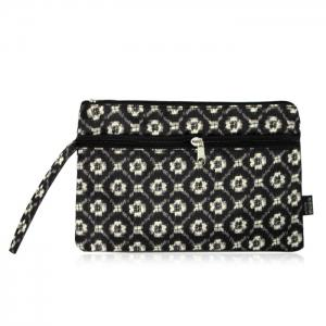 Nylon Print Wristlet Pouch Bag - Black White