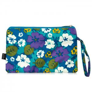 Nylon Print Wristlet Pouch Bag - BLUE